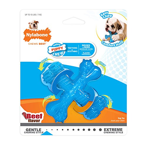 Large Product Image of Nylabone Puppy Chew X Bone Beef Chew Toy, X-Small