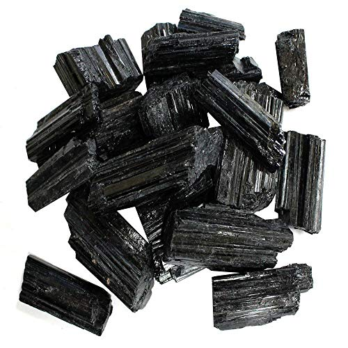 1/2 lb Rough Black Tourmaline Crystals - Raw Natural Black Tourmaline Stones Bulk - Crystal Healing - Cabbing Cutting Lapidary Tumbling and Polishing