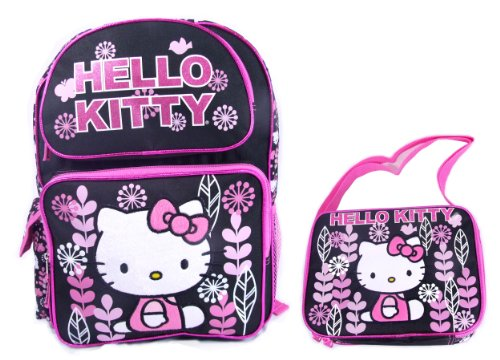 Sanrio Hello Kitty 16″ Large School Backpack 10″ Lunc Bag Set – Black, Bags Central