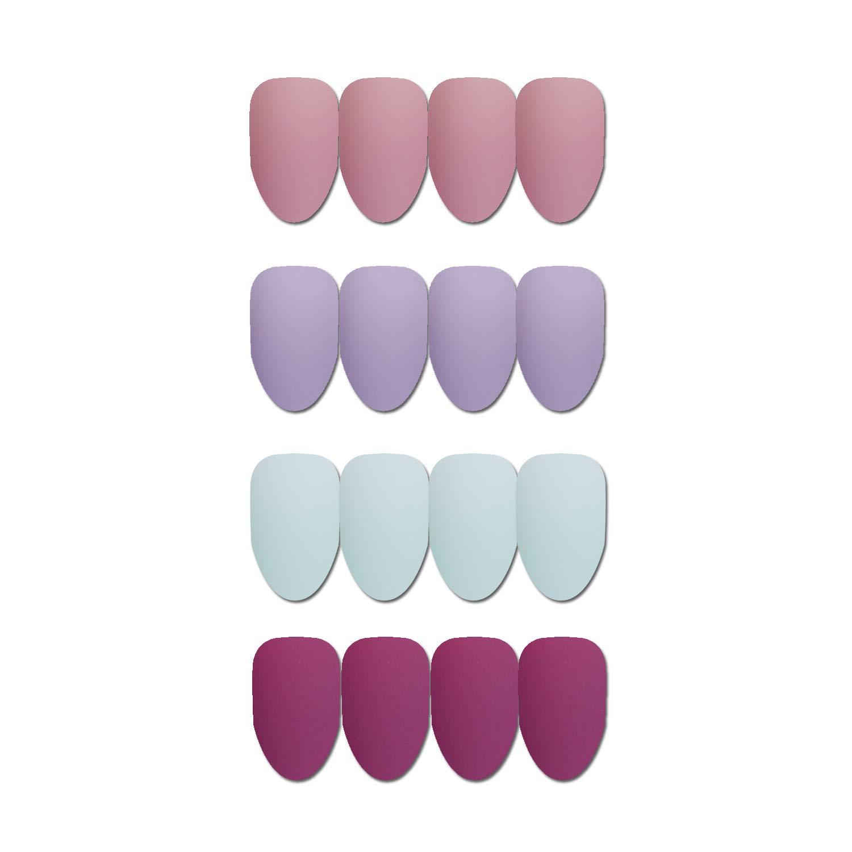 Juego de 96 piezas de uñas de Coffin, varios colores, elegantes, uñas postizas, puntas de cabeza redonda, tamaño mediano, cobertura completa, ...