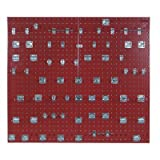 LocBoard LB2-TKit Epoxy 18 Gauge Steel Square Hole Pegboards with 63 Piece LocHook Assortment, 24 x 42-1/2 x 9/16'', Red