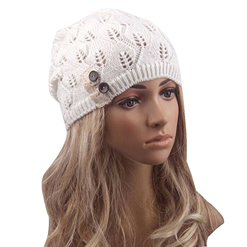 Womens Fashion Lightweight Cutout Crochet Knit Beret Beanie Hat with Side Button