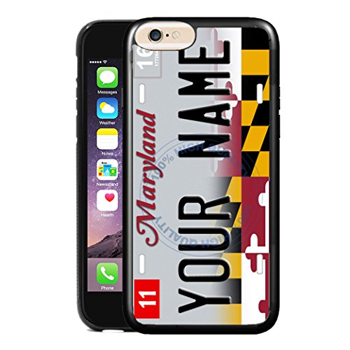 BleuReign(TM) Personalized Custom Name 2017 Maryland State License Plate TPU Rubber Silicone Phone Case Back Cover for Apple iPhone 8 Plus and 7 - Handle Vanity Raven