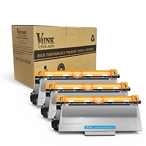 V4INK 3 Pack Compatible Replacement for Brother TN720/ TN750 Toner Cartridge - for use in Brother HL5450DN HL5470DW HL6180DW DCP8110DN MFC8710DW Series Printers