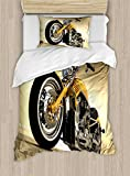 Motorcycle Duvet Cover Set by Ambesonne, Iron Custom Aesthetic Hobby Motorbike Futuristic Modern Mirrors Riding Theme, 2 Piece Bedding Set with Pillow Sham, Twin / Twin XL, Yellow Silver