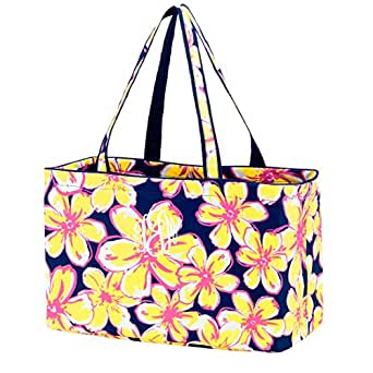 Fashion Print Ultimate Tote - Carry All Organizer Bag - A Tailgate MustCan Be Personalized (Blank, Beach Floral)
