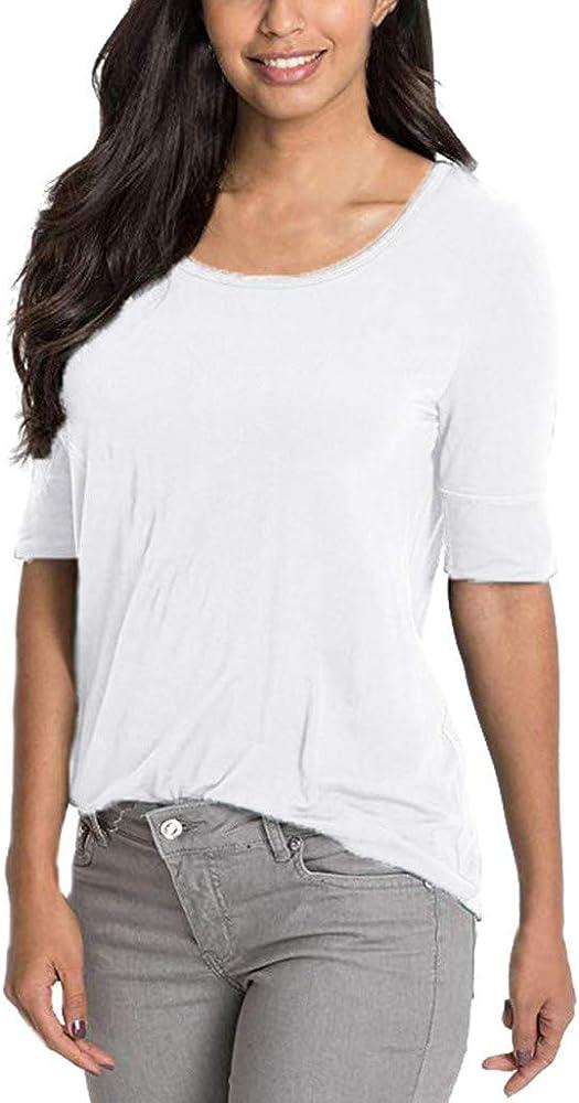 Surttan Camisetas de Manga Corta para Mujer Camisa de Verano para Mujer Blusa de Mujer Chaleco de Mujer Blusa de Media Manga de la Top Ocasional sólida de Las Mujeres Túnicas básicas