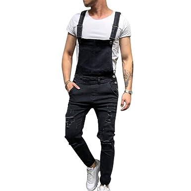 bas prix fc8db 3319b OEAK Salopette Homme Jeans Dechiré, Salopette Short Pantalon en Denim  Skinny Troué Slim Fit Vintage Biker Hip Hop Combinaisons Jeans Homme de Rue  à la ...