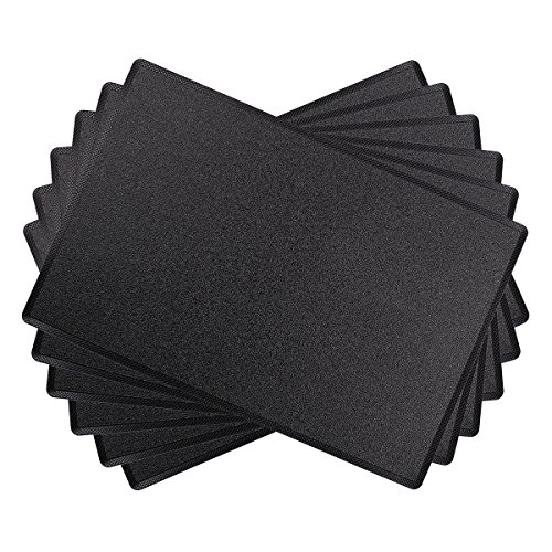 SICOHOME Leather Placemats,Set of 6,Black Plastic Placemats for Home and Office Decoration