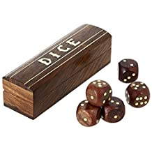 Indian game wooden dice set in a box brass inlay art 13.34 x 3.81 cm
