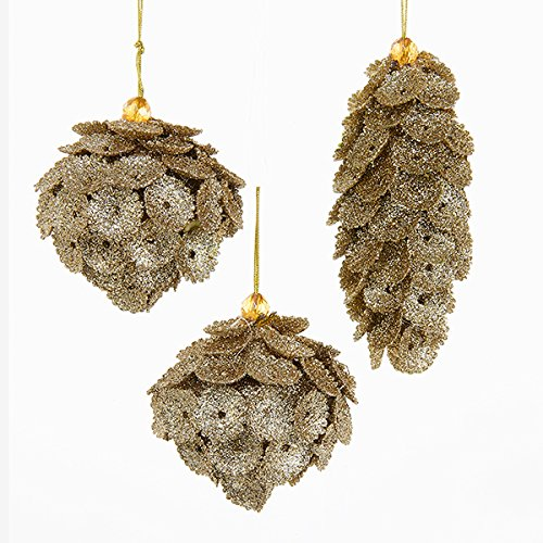 Pinecone Finial (Kurt Adler 5 Inch Gold Pinecone Drop, Finial And Ball 1 Set 3 Assorted Ornaments)