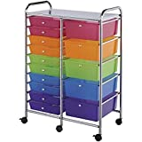 Multi Color 15 Drawers Rolling Storage Cart