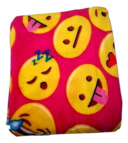Emoji Faces Fuschia Round Velvet Throw Blanket Kids Plush Soft Toy Toddlers Teens Emojies Expressions WILL Vary 50
