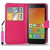 GBOS XIAOMI REDMI NOTE 4G LEATHER WALLET BOOK FLIP CASE COVER POUCH CARD & CASH SLOT WITH MINI TOUCH STYLUS PEN PINK