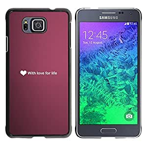 Paccase / SLIM PC / Aliminium Casa Carcasa Funda Case Cover para - Ubuntu Love For Life Heart Text Wallpaper Purple - Samsung GALAXY ALPHA G850