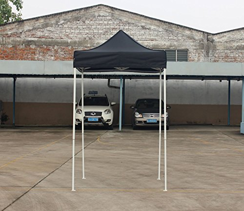 American Phoenix Canopy Tent 5x5 feet Party Tent [White Frame] Gazebo Canopy Commercial Fair Shelter Car Shelter Wedding Party Easy Pop Up (Black) (Factory Grill And Furniture Bar)