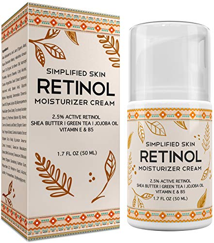 51GGHo7bZhL - Retinol Moisturizer Cream 2.5% for Face & Eye Area with Vitamin E & Hyaluronic Acid for Anti Aging, Wrinkles & Acne - Best Night & Day Facial Cream by Simplified Skin 1.7 oz