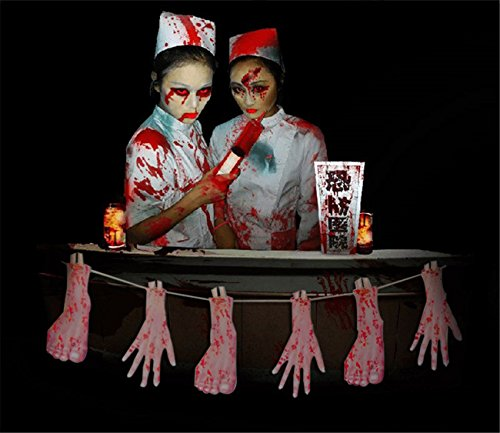 Halloween Banner Bunting Broken Finger Hand Foot Scary Bloody Party Prank Props Decorations