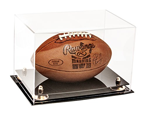 Better Display Cases Clear Acrylic Football Display Case with Gold Risers (A004-GR)