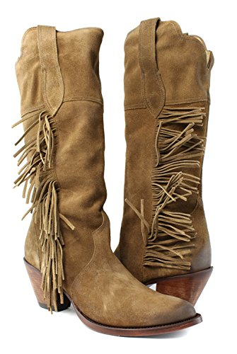 Lucchese KM4502 Gallop Womens Bridle Brown Suede Leather Cowboy Western Boots k9RzVFo