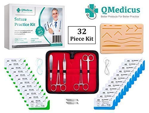 (Complete Suture Practice Kit for Training. Includes Full Set of Stainless Tools, 4th Generation, 4-Layer Suture Pad with Pre-Cut Wounds, 24 Silk and Nylon Sutures. (Educational Purposes Only.))