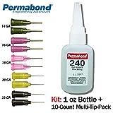 Permabond 240 (1oz Bottle+Tip Multipack) Instant Adhesive-Slow-Set Gap Filling, Great for Plastic & Rubber