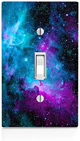 Trendy Accessories Decorative Nebula Galaxy Space Design Pattern Print Image Light Switch Wall Plate Cover Not A Decal Actual Printed Outlet Cover Home Kitchen