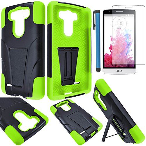 LG G3 VIGOR Case Cover (not for G3) 3-items Bundle-VGUARD Dual- Layer Hard/Gel Hybrid Kickstand Armor Case (Black/Green)+ICE-CLEAR(TM) Screen Protector Shield(Ultra Clear)+Touch Screen Stylus