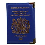MagiDeal UK and European Passport Holder Protector Cover Wallet PU Leather United Kingdom - Blue