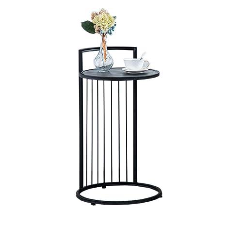 Amazon Com Baomei Coffee Table Wrought Iron Marble Round Table