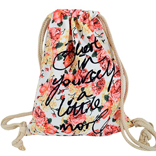 Monique Floral Print Canvas Drawstring Bag Basic Backpack Oversize Handbag Travel Tote Casual Daypack Sport Outdoor Travel Shoulders Bag Letters Flowers (Handbag Tote Print Drawstring)
