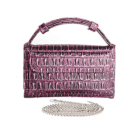 Fashion Clutch One Shoulder Cross-body Bag Small Crocodile Pattern Leather Clutch Chain Women's Handbags,Crocodile Purple