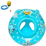 Bath Seat Ring Infant Baby Kids Toddler Inflatable Swimming Swim Ring Float Seat Boat Pool Bath Handle Safety Seat (Blue)