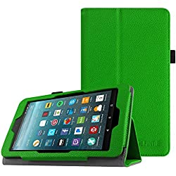 Fintie Folio Case for All-New Amazon Fire 7 Tablet (7th Generation, 2017 Release) - Slim Fit PU Leather Standing Protective Cover Auto Wake / Sleep, compatible with Fire 7 (5th Gen, 2015), Green