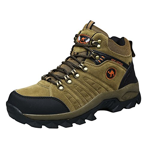 3C Camel HUAYU 5696 Mens Walking Hiking Trail Waterproof Ventilated Mid High-Cut Gray Boots (8.5, Brown)