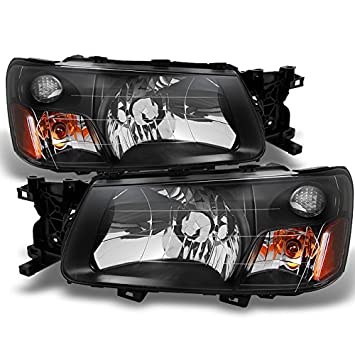 For Subaru Forester Black Headlights Head Lamps Driver Left + Passenger  Right Side Replacement Pair Set