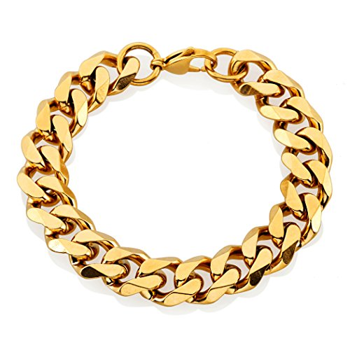 Crucible Jewelry Mens Gold IP Stainless Steel Beveled Curb Chain Bracelet (14 mm), 9-Inch, Gold