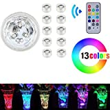 Underwater,Waterproof Lights,Waterproof LED RGB Submersible Light Wedding Party Vase Lamp with Remote Control (10PCS)