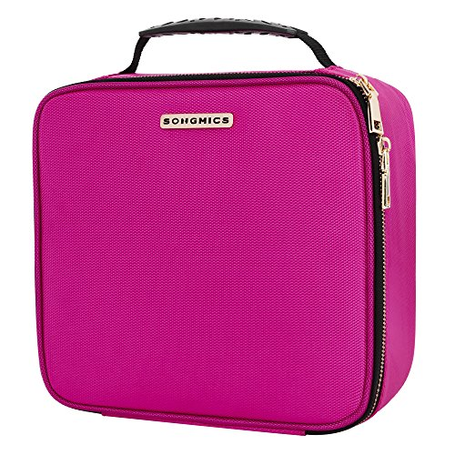 "SONGMICS 10.6"" Cosmetic Bags travel Makeup Train Case with Adjustable Dividers cosmetic cases with Hard Shell Exterior Storage Organizer Rose UMUC23PK"