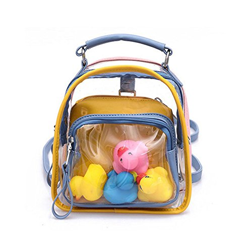 Clear Backpack Small Girls Cute Transparent Plastic PVC Laser School Bag - for Daily Use, Travel, Outside Sports, Beach (# 3 - Yellow)