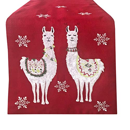 Lintex Christmas Llamas Embroidered Winter and Holiday Fabric Table Runner – Eclectic Llama Pattern Kitchen and Dining Room Table Runner, 72″ Long Table Runner