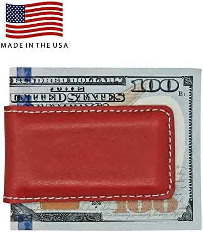 8292becd12ff Genuine Leather Money Clips - American Factory Direct - Strong Shielded  Magnets - Made in USA