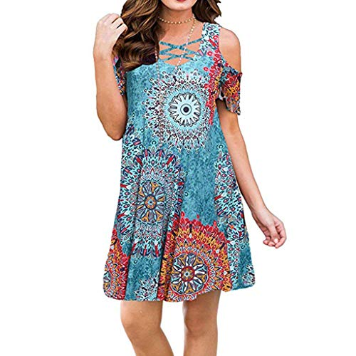 - Answerl Womens Dresses Cold Shoulder Round Neck Loose Tunic Casual T Shirt Dress Floral Print Sundress Sky Blue