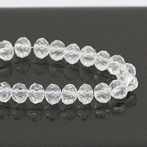 Sterling Silver Jewelry Club (1 Strand Top Quality Czech Rondelle Crystal Glass Beads 6mm Crystal Clear #5040 Alternatives for Swarovski Preciosa Bead (~90-95pcs beads))