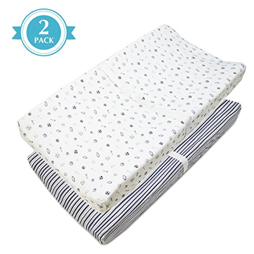 American Baby Company 2 Pack Printed 100% Natural Cotton Jersey Knit Fitted Contoured Changing Table Pad Cover, Travel Lite Mattress, Navy/Grey Stripes/Sports, Soft Breathable, -