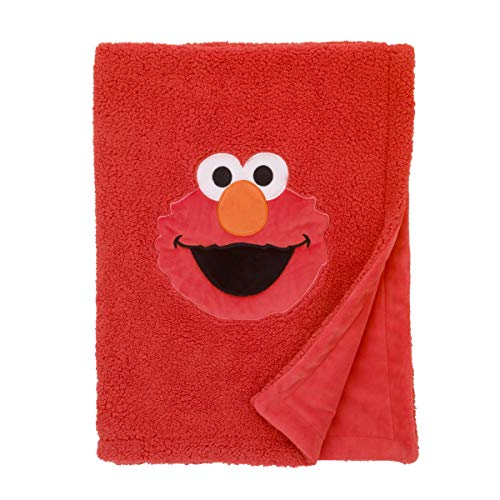 Sesame Street Elmo Red Soft Plush Sherpa Toddler Blanket with Applique, Red/Orange/White/Black