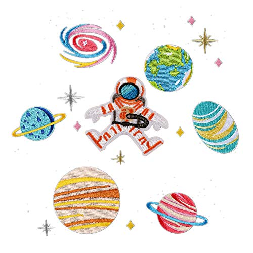 XUNHUI Space Planets Astronaut and Earth Patches Universe Iron On Patches for Backpack Embroidery Mixed Multicolor Applique Patches for Jackets,Caps,Pants,Clothing 1 Set (Planet Patches Earth)