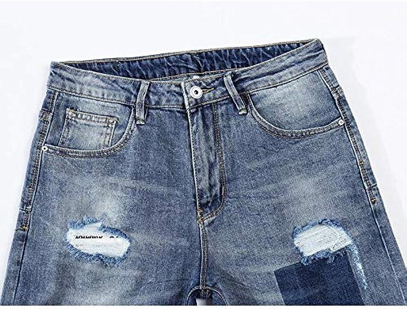 YANGPP jeansy męskie lato cienkie jasnoniebieskie stretch skinny rower prążkowany jeans spodnie męskie Slim Leg Tapered Torn Denim Pants Hip Hop, jasnoniebieskie, 33: Sport & Freizeit