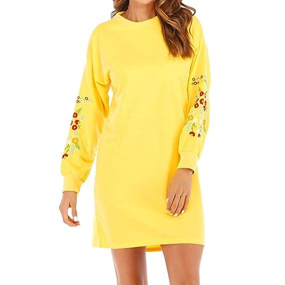 e0ac86fadee5 WWricotta Women Autumn Winter Casual Long Sleeve Floral Embroidery  Sweatshirt Dress  Amazon.de  Bekleidung