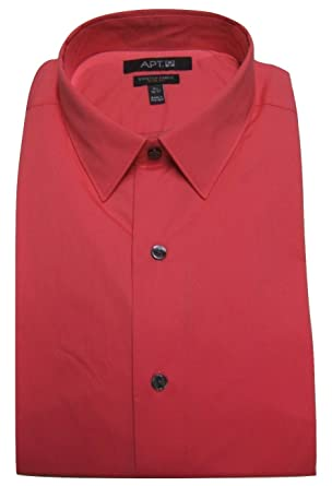 03333f1a5964f Apt. 9 Mens Slim Fit Stretch Dress Shirt Easy Care - Geranium Red at ...